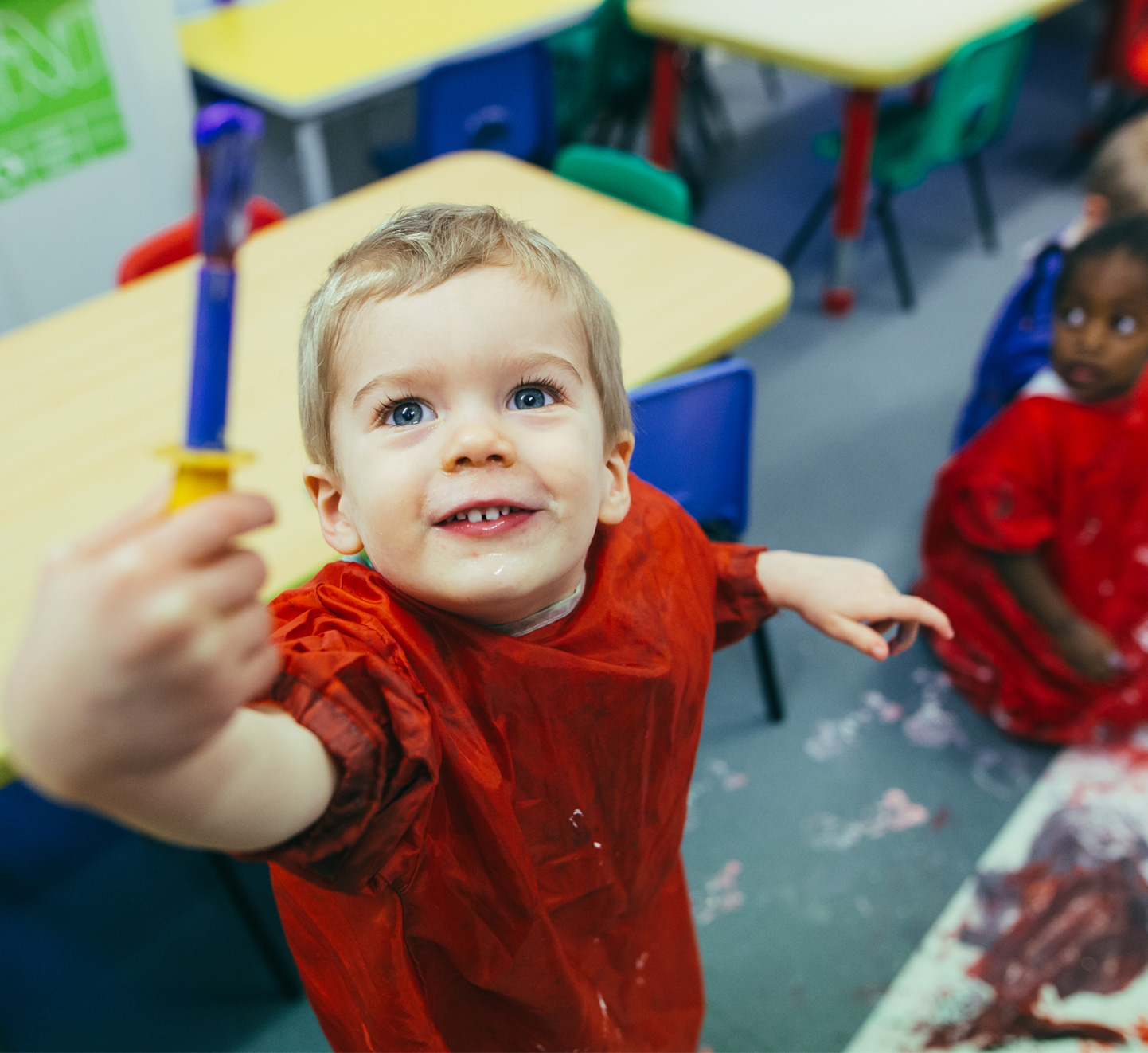 Birmingham Day Nurseries – painting at The Elms Day Nursery Bumblebees Room
